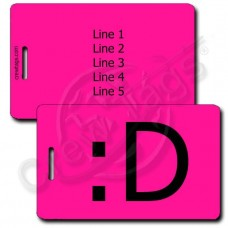 BIG GRIN EMOTICON PERSONALIZED LUGGAGE TAG :D NEON PINK